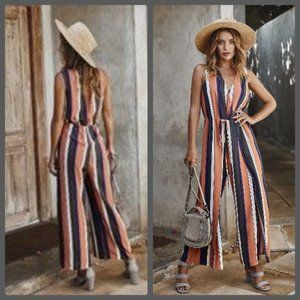 NEW PINK STRIPED JUMPSUIT SLIMMING SLIT PANTS